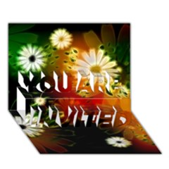 Awesome Flowers In Glowing Lights You Are Invited 3d Greeting Card (7x5)