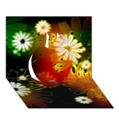 Awesome Flowers In Glowing Lights Apple 3D Greeting Card (7x5)