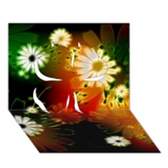 Awesome Flowers In Glowing Lights Clover 3d Greeting Card (7x5)