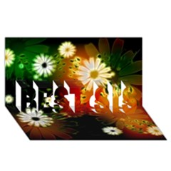 Awesome Flowers In Glowing Lights Best Sis 3d Greeting Card (8x4)