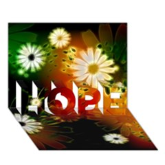 Awesome Flowers In Glowing Lights HOPE 3D Greeting Card (7x5)