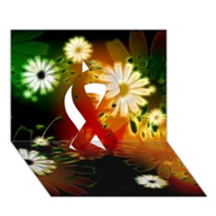 Awesome Flowers In Glowing Lights Ribbon 3d Greeting Card (7x5)