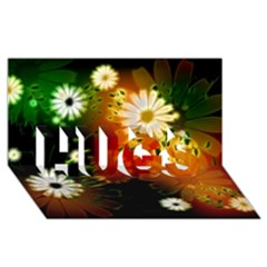 Awesome Flowers In Glowing Lights Hugs 3d Greeting Card (8x4)