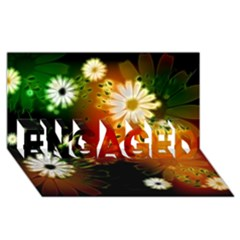 Awesome Flowers In Glowing Lights ENGAGED 3D Greeting Card (8x4)