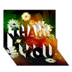 Awesome Flowers In Glowing Lights THANK YOU 3D Greeting Card (7x5)