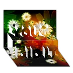 Awesome Flowers In Glowing Lights You Did It 3D Greeting Card (7x5)