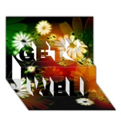 Awesome Flowers In Glowing Lights Get Well 3D Greeting Card (7x5)
