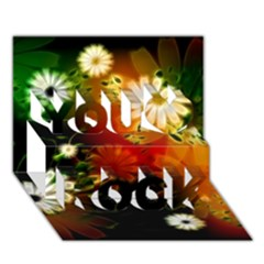 Awesome Flowers In Glowing Lights You Rock 3d Greeting Card (7x5)