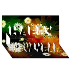 Awesome Flowers In Glowing Lights Happy New Year 3D Greeting Card (8x4)