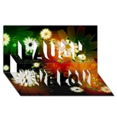 Awesome Flowers In Glowing Lights Laugh Live Love 3D Greeting Card (8x4)