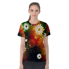 Awesome Flowers In Glowing Lights Women s Cotton Tees