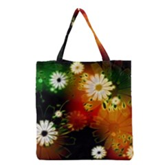Awesome Flowers In Glowing Lights Grocery Tote Bags