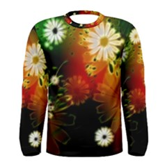 Awesome Flowers In Glowing Lights Men s Long Sleeve T-shirts