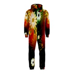 Awesome Flowers In Glowing Lights Hooded Jumpsuit (Kids)