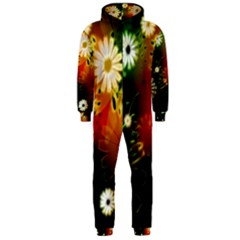 Awesome Flowers In Glowing Lights Hooded Jumpsuit (Men)
