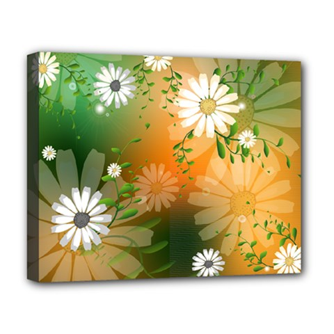 Beautiful Flowers With Leaves On Soft Background Deluxe Canvas 20  x 16