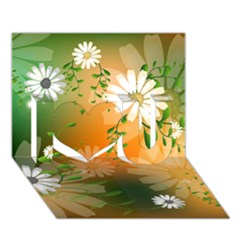 Beautiful Flowers With Leaves On Soft Background I Love You 3D Greeting Card (7x5)