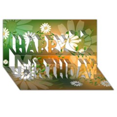 Beautiful Flowers With Leaves On Soft Background Happy Birthday 3d Greeting Card (8x4)