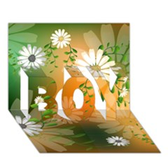 Beautiful Flowers With Leaves On Soft Background Boy 3d Greeting Card (7x5)