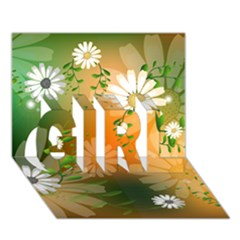 Beautiful Flowers With Leaves On Soft Background GIRL 3D Greeting Card (7x5)
