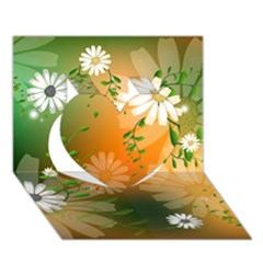 Beautiful Flowers With Leaves On Soft Background Heart 3D Greeting Card (7x5)