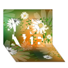 Beautiful Flowers With Leaves On Soft Background LOVE 3D Greeting Card (7x5)