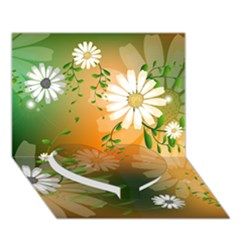 Beautiful Flowers With Leaves On Soft Background Heart Bottom 3d Greeting Card (7x5)