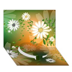 Beautiful Flowers With Leaves On Soft Background Circle Bottom 3d Greeting Card (7x5)