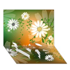 Beautiful Flowers With Leaves On Soft Background Love Bottom 3d Greeting Card (7x5)