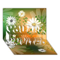 Beautiful Flowers With Leaves On Soft Background You Are Invited 3d Greeting Card (7x5)