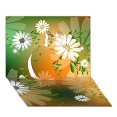 Beautiful Flowers With Leaves On Soft Background Apple 3d Greeting Card (7x5)