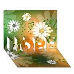 Beautiful Flowers With Leaves On Soft Background HOPE 3D Greeting Card (7x5)