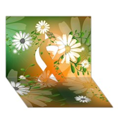 Beautiful Flowers With Leaves On Soft Background Ribbon 3d Greeting Card (7x5)