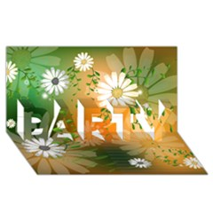 Beautiful Flowers With Leaves On Soft Background PARTY 3D Greeting Card (8x4)