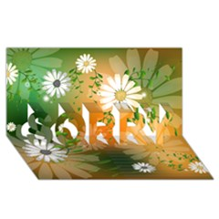 Beautiful Flowers With Leaves On Soft Background SORRY 3D Greeting Card (8x4)