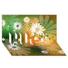 Beautiful Flowers With Leaves On Soft Background Hugs 3d Greeting Card (8x4)