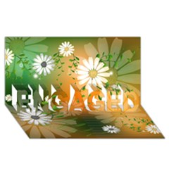 Beautiful Flowers With Leaves On Soft Background Engaged 3d Greeting Card (8x4)
