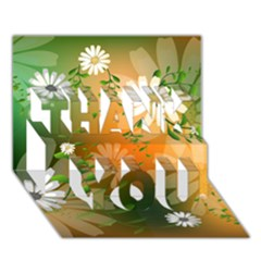 Beautiful Flowers With Leaves On Soft Background THANK YOU 3D Greeting Card (7x5)