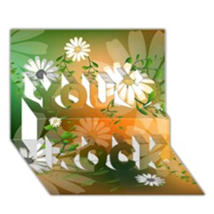 Beautiful Flowers With Leaves On Soft Background You Rock 3d Greeting Card (7x5)