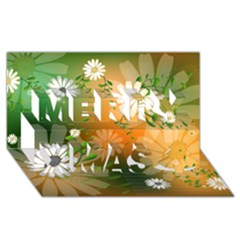 Beautiful Flowers With Leaves On Soft Background Merry Xmas 3D Greeting Card (8x4)