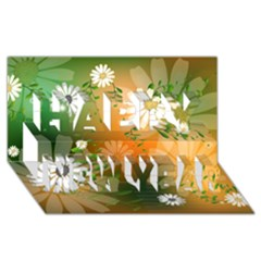 Beautiful Flowers With Leaves On Soft Background Happy New Year 3d Greeting Card (8x4)
