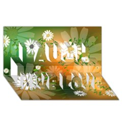 Beautiful Flowers With Leaves On Soft Background Laugh Live Love 3D Greeting Card (8x4)