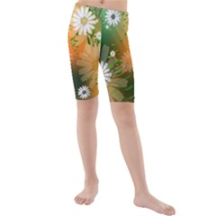 Beautiful Flowers With Leaves On Soft Background Kid s swimwear