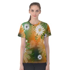 Beautiful Flowers With Leaves On Soft Background Women s Cotton Tees