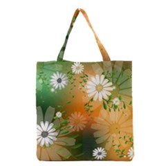 Beautiful Flowers With Leaves On Soft Background Grocery Tote Bags
