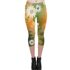 Beautiful Flowers With Leaves On Soft Background Capri Leggings