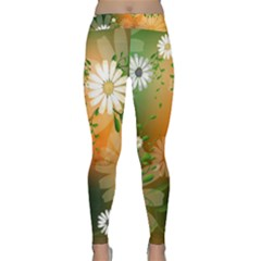 Beautiful Flowers With Leaves On Soft Background Yoga Leggings