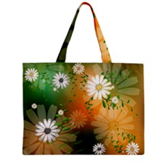Beautiful Flowers With Leaves On Soft Background Zipper Tiny Tote Bags