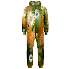 Beautiful Flowers With Leaves On Soft Background Hooded Jumpsuit (Men)
