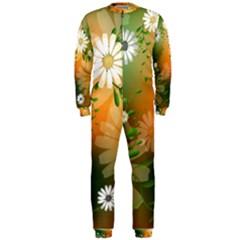 Beautiful Flowers With Leaves On Soft Background Onepiece Jumpsuit (men)